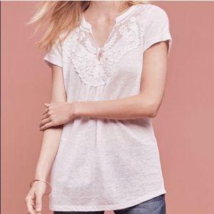 Deletta Aria Appliqué Mesh Bib White Linen Top